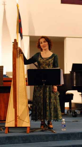 performing on Celtic harp