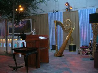 Stephanie Bennett's harp onstage at the 2014 Music Emmy reception
