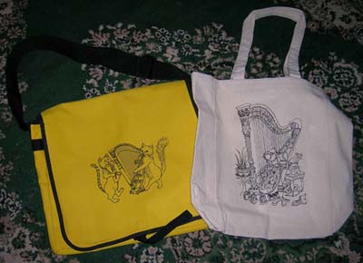 totebags with original artwork by Stephanie Bennett